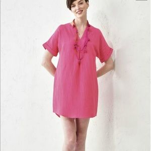 CHARLIE PAIGE CORAL LINEN TUNIC
